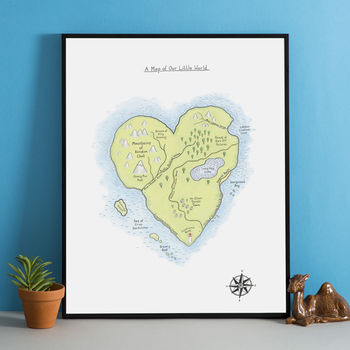 'A Map Of Our Little World' Personalised Print