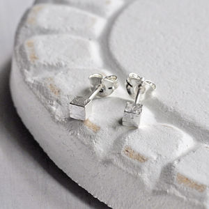 Hammered Sterling Silver Cube Stud Earrings - earrings