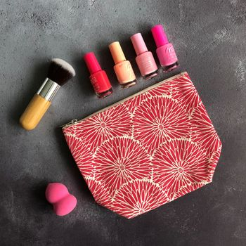 Pink Flower Make Up Bag