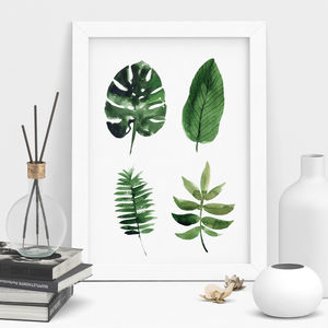 Tropical Leaf Print Watercolour Art - nature & landscape