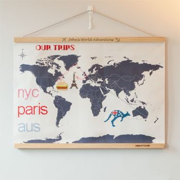 Personalised Cross Stitch Travelers Wall Hanging Map