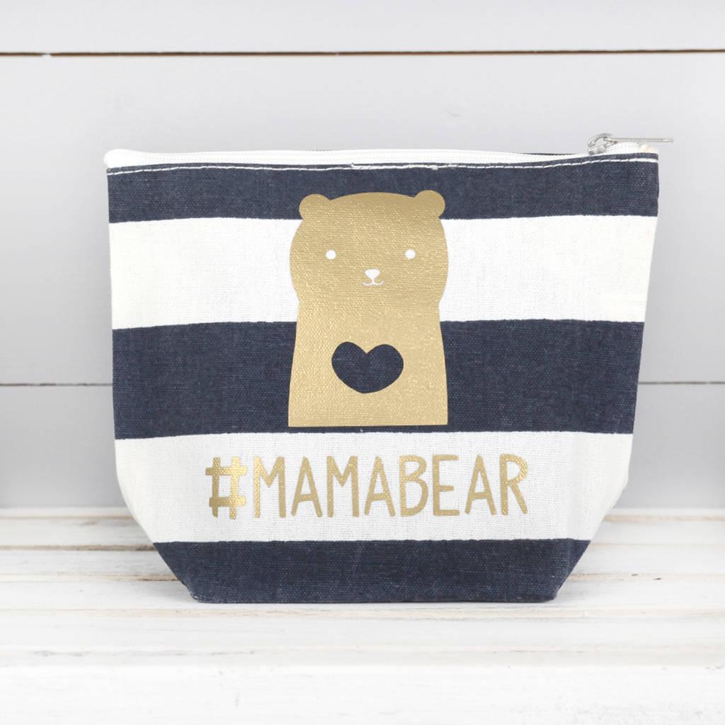 Navy Striped Mama Bear Cosmetic Bag