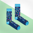 Blue Multi Colour Retro Sock