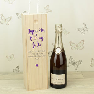 Personalised 21st Birthday Wooden Bottle Box