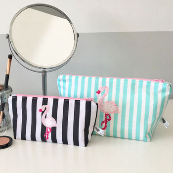 Striped Flamingo Print Fabric Makeup Bag
