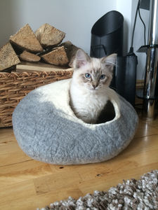 Two Tone Felt Cat Cave Bed And Ball - beds & sleeping