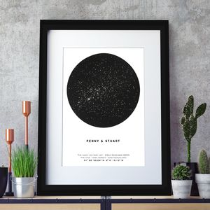 Personalised Metallic Star Map Print, Unframed