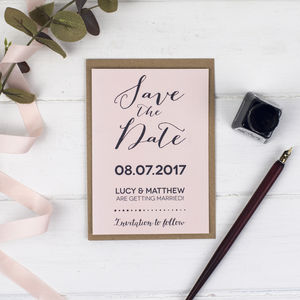Modern Calligraphy Wedding Save The Date Card Or Magnet