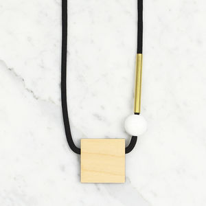 Block / Plywood, White + Brass - necklaces & pendants