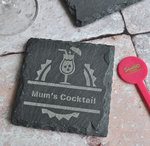 Personalised Cocktail Slate Coaster