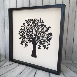 Personalised Black And Ivory Framed Wooden Family Tree