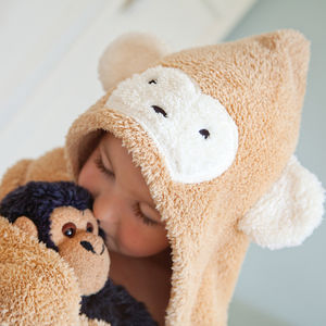 Personalised Children's Monkey And Bunny Towel