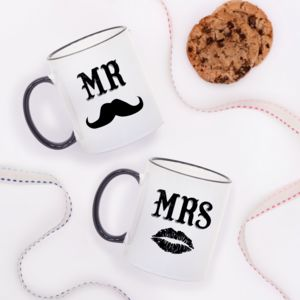 Mr And Mrs Moustache Mugs - mr & mrs