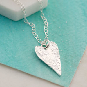 Handmade Silver Textured Heart Necklace