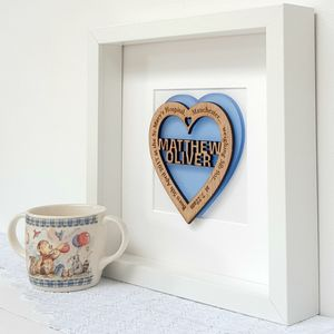 Personalised New Baby Boy Blue Oak Heart