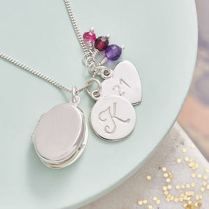 Silver Locket Necklace With Birthstones - women's jewellery