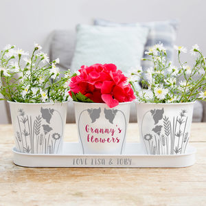 Personalised Flower Tray And Pots - gifts for her