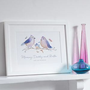 Personalised Bird Family Print - pictures & prints for children