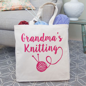 Personalised Canvas Knitting Bag - storage