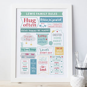 Personalised Colourful Family Rules Print