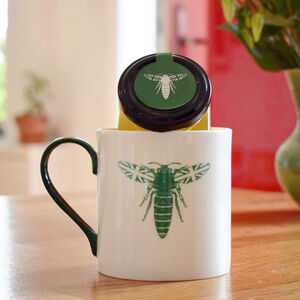 Green British Bee Mug And Honey Gift Set
