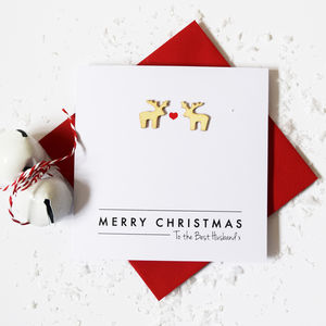 Personalised Wooden Reindeer Christmas Love Card - cards