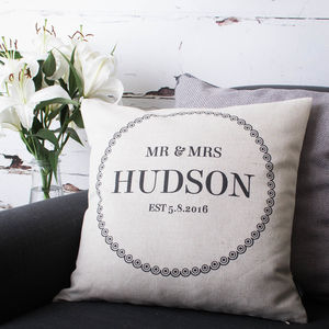 'Mr And Mrs' Cushion Cover - 2nd anniversary: cotton