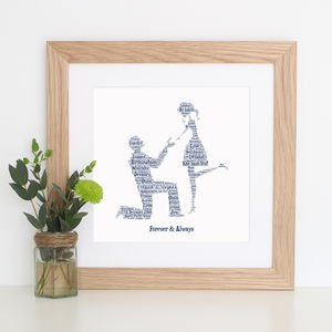 Personalised Engagement Word Art Gift - posters & prints