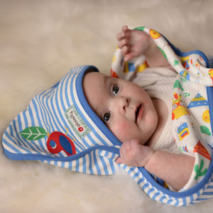 Blue Stripe Baby Hooded Shawl - shawls & wraps