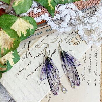 Magical Purple Faerie Wing Earrings