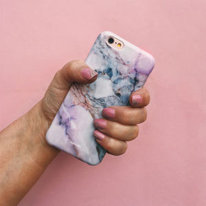 Pink Grey White Marble iPhone Case - phone covers & cases