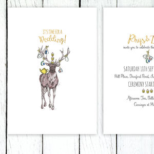 Afternoon Tea Stag Relaxed Wedding Invitation Suite - invitations