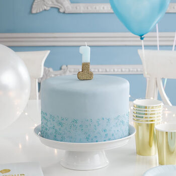 Blue Tone And Gold Glitter Number Birthday Candle