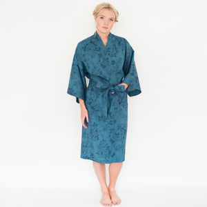 Ladies Kimono Robe In Rosetta Midnight Print