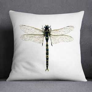 Emperor Dragonfly Illustrated Printed Cushion - cushions