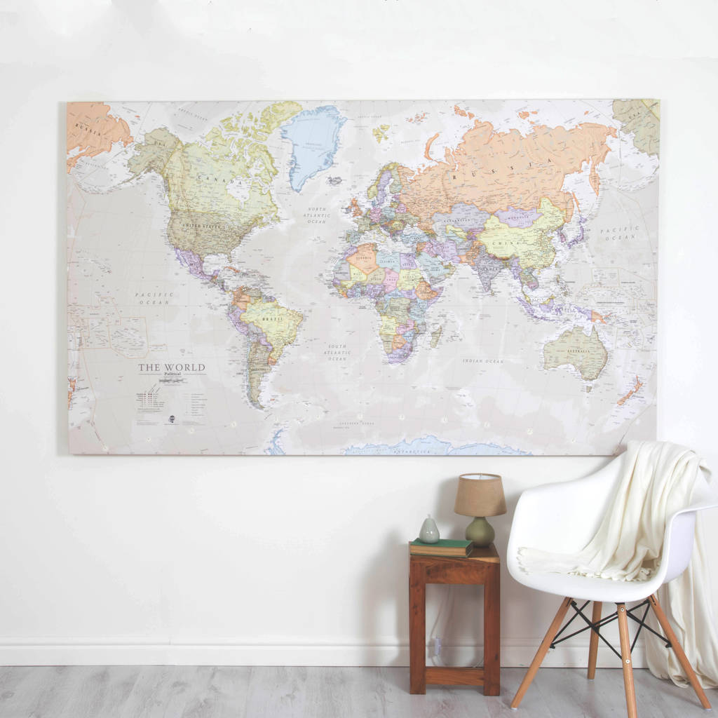 giant canvas world map by maps international. Black Bedroom Furniture Sets. Home Design Ideas