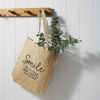 'Smile' Eco Friendly Jute Shopping Bag