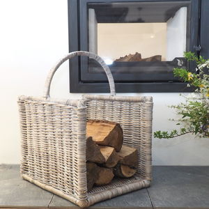 Wicker Log Basket Two Sizes - log baskets