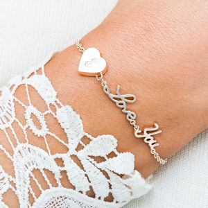 Alexis 'Love You' Personalised Bracelet - march birthstone
