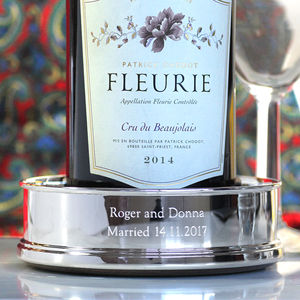 Silver-Plated Personalised Wine Coaster - 25th anniversary: silver