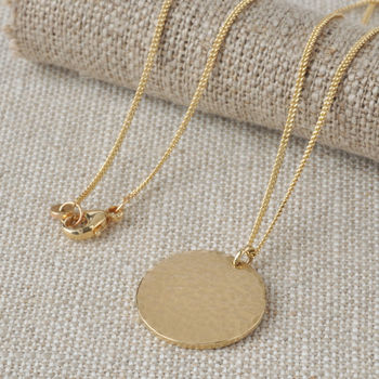 Solid 9ct Gold Beaten Disc Necklace