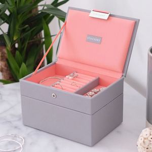 Dove Grey With Coral Mini Jewellery Box - jewellery storage & trinket boxes