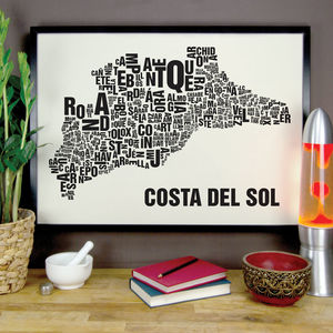 Costa Del Sol Letter Map Screen Print - posters & prints