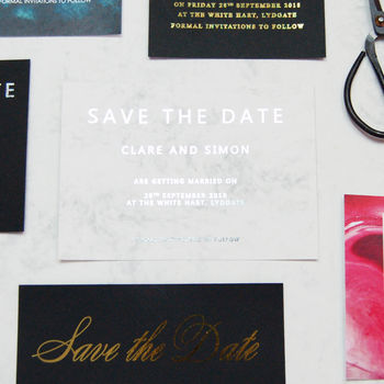 Marble And Silver Foil Wedding Save The Dates