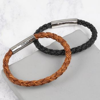 Men's Personalised Rough Braided Leather Bracelet