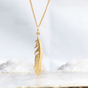 Diamond Set Feather Gold Necklace