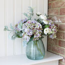 Luxury Artificial Hydrangea Arrangement And Glass Vase