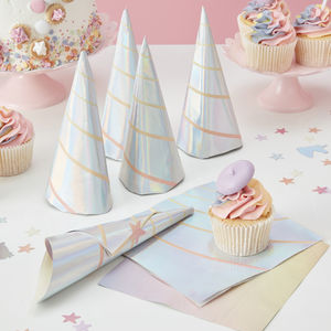 Iridescent Unicorn Horn 3D Party Paper Napkins