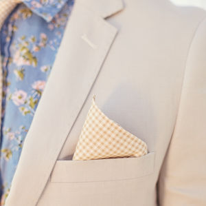 Beige Gingham Print Pocket Square - new in fashion