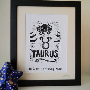 Taurus Star Sign Personalised Print - shop by price